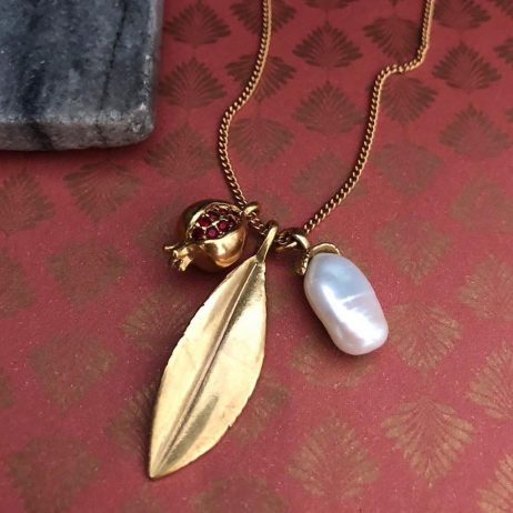 Hultquist Jewellery Gold Pomegranate and Leaf Necklace with Crystals