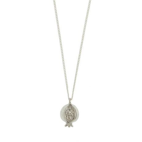 Hultquist Jewellery Pomegranate Silver Plated Long Necklace with Crystals