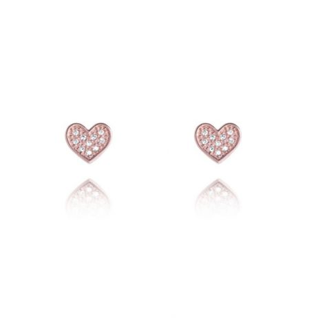 Joma Jewellery Rose Gold CZ Heart Florence Stud Earrings 2348