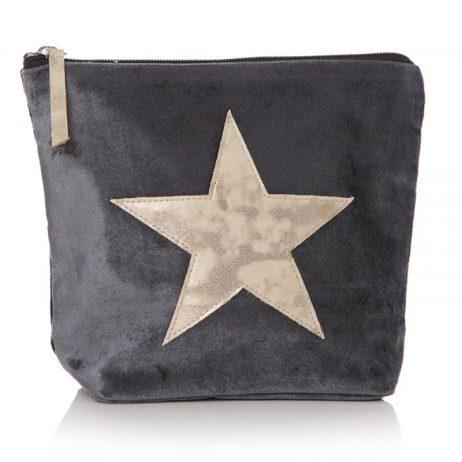 Shruti Designs Ta Da Silver Grey Star Cosmetic Wash Bag