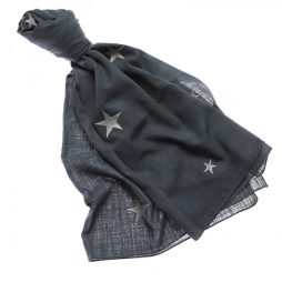 Shruti Designs Star Burst Petrol Blue with Silver Star Scarf