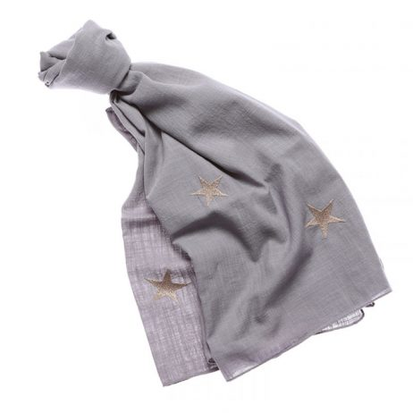 Shruti Designs Star Burst Grey Gold Star Scarf