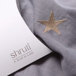 Shruti Designs Star Burst Grey Gold Star Scarf 94554