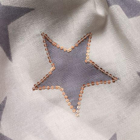 Shruti Designs Star Burst Grey Star Scarf with Sequin Rose Gold Stars