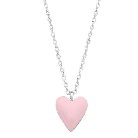 Estella Bartlett Pink Heart Silver Plated Necklace EB3193C