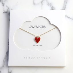 Estella Bartlett Ruby Red Heart Gold Plated Necklace EB3194C