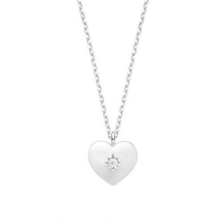Estella Bartlett CZ Polished Heart Silver Plated Necklace EB3195C