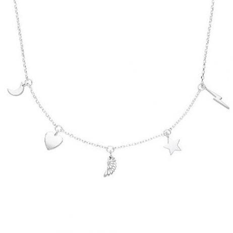 Estella Bartlett Multi Lucky Charm Silver Plated Necklace EB3202C - EOL
