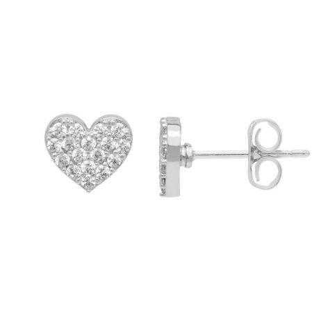 Estella Bartlett CZ Heart Silver Plated Earrings EB3302 *