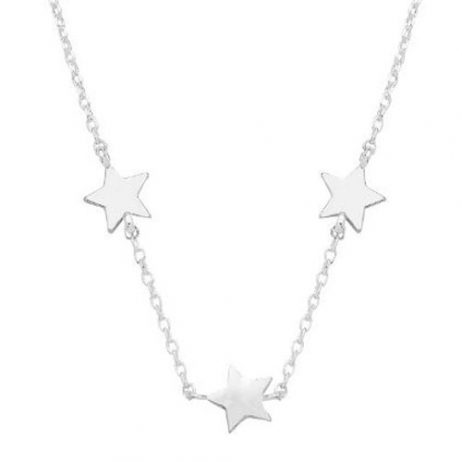 Estella Bartlett Three Star Charm Silver Plated Necklace EB3203C