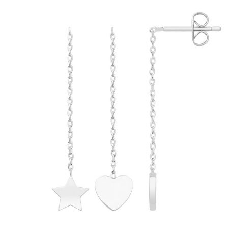 Estella Bartlett Heart and Star Chain Drop Silver Plated Earrings EB3211
