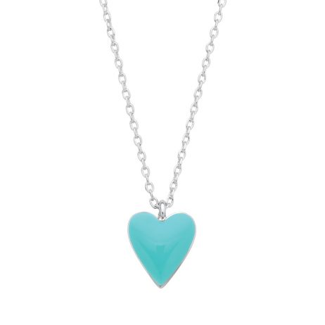 Estella Bartlett Turquoise Heart Silver Plated Necklace EB3237C