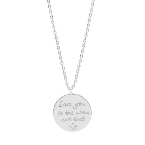 Estella Bartlett Love You To The Moon and Back Silver Plated Necklace EB3305C
