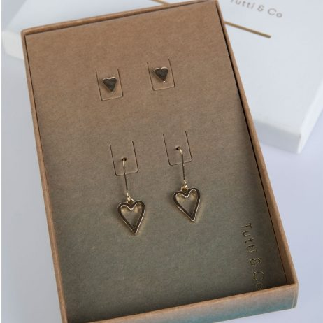 Tutti and Co Jewellery Double Earrings Heart Gift Set Gold