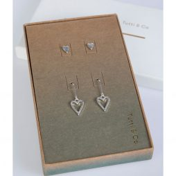 Tutti and Co Jewellery Double Earrings Heart Gift Set Silver