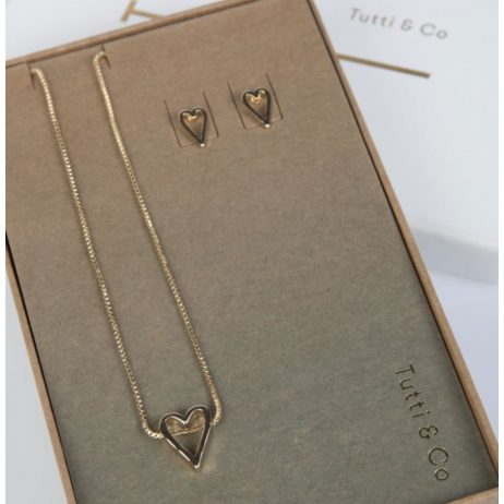 Tutti and Co Jewellery Heart Necklace and Stud Earrings Gift Set Gold