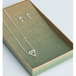 Tutti and Co Jewellery Heart Necklace and Stud Earrings Gift Set Silver