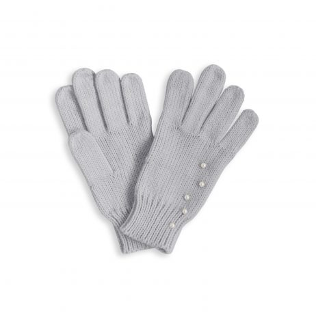 Katie Loxton Pale Grey Pearl Cable Knit Gloves KLS116