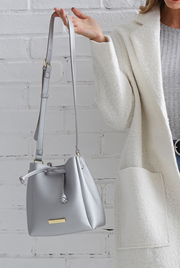 Chloe Mini Silver Metallic Bucket Bag