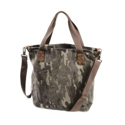 Hot Tomato Camouflage Stonewash Star Large Canvas Tote Shopper Bag