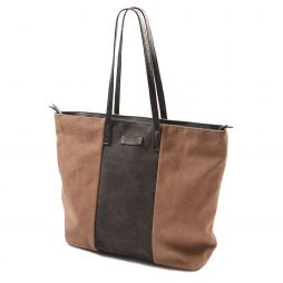 Hot Tomato Cocoa and Charcoal Stonewash Large Canvas Tote Shopper Bag