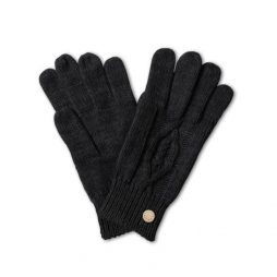 Katie Loxton Black Cable Knit Bobble Gloves KLS050