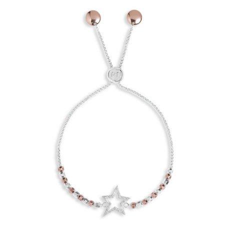 Joma Jewellery Amulet Pave Star Bracelet Silver And Rose Gold 2953