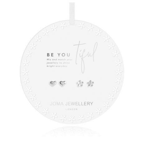 Joma Jewellery Beautiful Bloom Be-You-Tiful Heart Flower Silver Stud Earring Set 2967