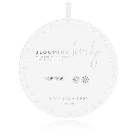 Joma Jewellery Beautiful Bloom Flower Leaf Silver Stud Earring Set 2968