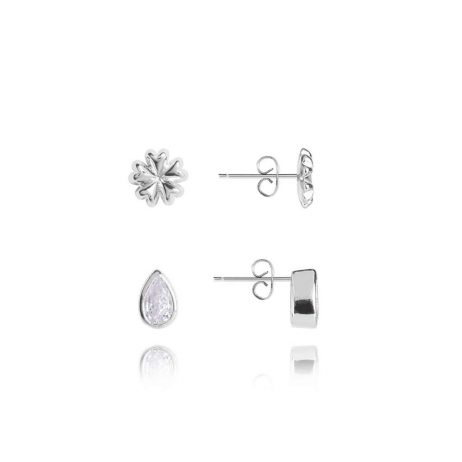 Joma Jewellery Beautiful Bloom Oh So Pretty Flower Droplet Silver Stud Earring Set 2969