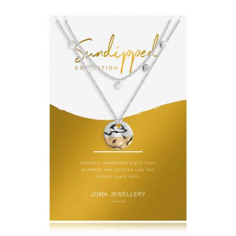 Joma Jewellery Sundipped Double Layer Necklace Silver and Gold Plated – Limited Edition 2985
