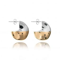 Joma Jewellery Sundipped Hoop Earrings Silver and Yellow Gold Plated - Limited Edition 2989