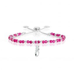 Joma Jewellery Signature Stones Happiness Fuchsia Agate Silver Bracelet 3021