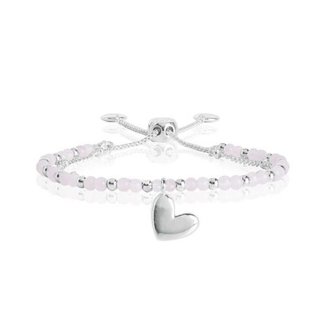 Joma Jewellery Signature Stones Love Rose Quartz Silver Bracelet 3025
