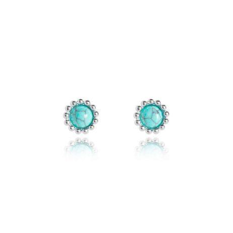 Joma Jewellery Signature Stones Free Spirit Turquoise Silver Stud Earrings 3032