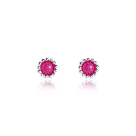 Joma Jewellery Signature Stones Happiness Pink Agate Studs Silver Earrings 3033