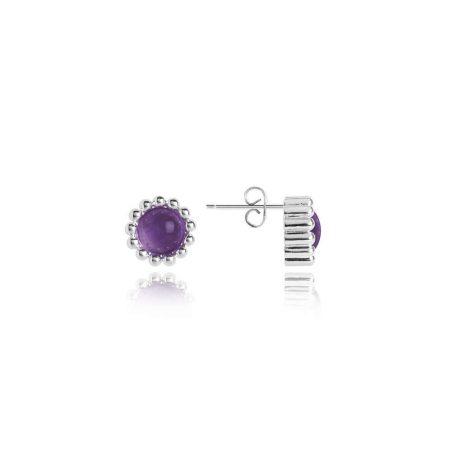 Joma Jewellery Signature Stones Family Amethyst Silver Stud Earrings 3035