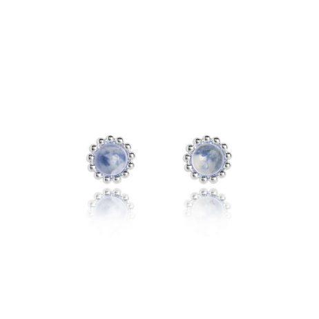 Joma Jewellery Signature Stones Friendship Blue Lace Agate Silver Stud Earrings 3036