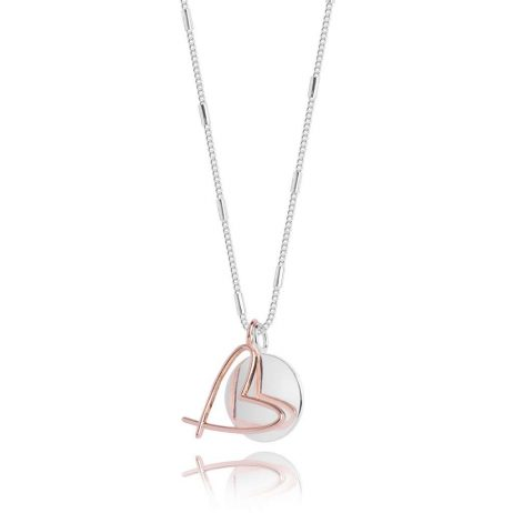 Joma Jewellery Alina Heart Necklace Silver And Rose Gold 3042