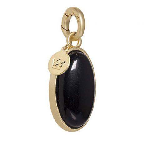 Sence Copenhagen Black Agate Gold Oval Charm