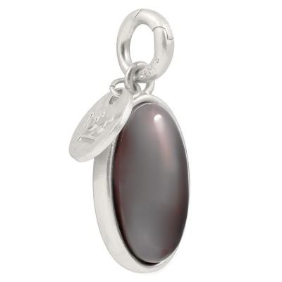 Sence Copenhagen Grey Agate Silver Oval Charm
