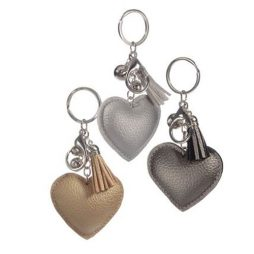 Hot Tomato Faux Metallic Leather Heart Key Ring with Tassel