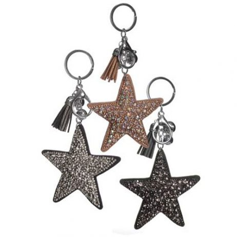 Hot Tomato Crystal Star Key Ring with Tassel