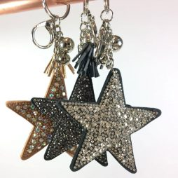 Hot Tomato Crystal Star Key Ring Bag Charm with Tassel