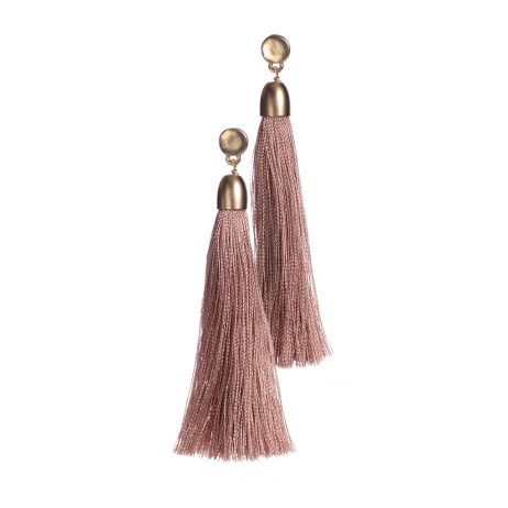 Hot Tomato Jewellery Vintage Gold with Pink Tassel Earrings