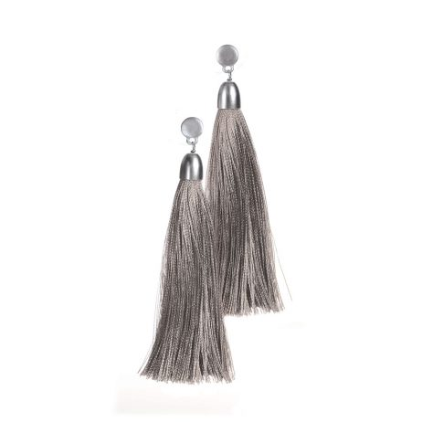Hot Tomato Jewellery Vintage Silver with Smoke Tassel Earrings