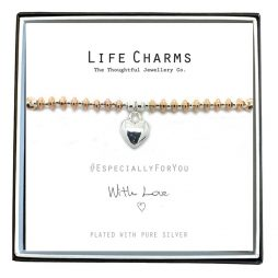 Life Charms Especially For You Silver Heart Rose Gold Bracelet