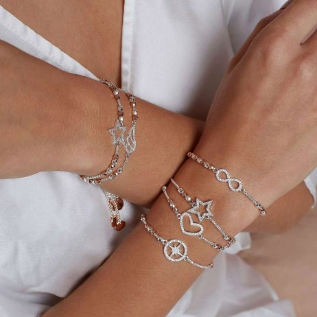 Joma Jewellery Amulet Pave Angel Wing Bracelet Silver And Rose Gold 2954