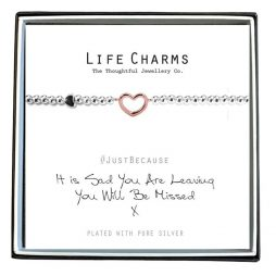 Life Charm Just Because You Are Leaving Silver Bracelet