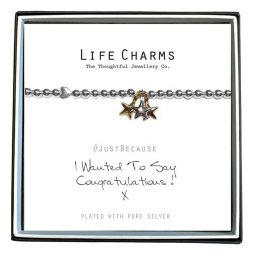 Life Charm Just Because Congratulations Silver Bracelet